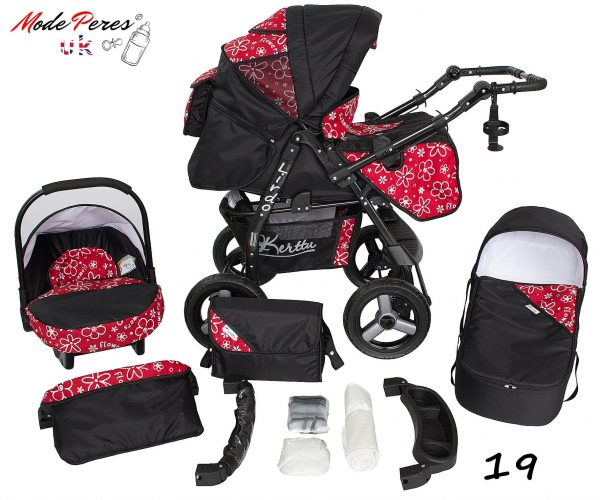 19 Lirdo 3in1 Black & Red with Flowers